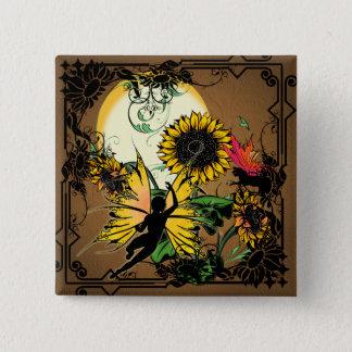 Badge Carré 5 Cm Fée d'ombre de tournesol et chat cosmique