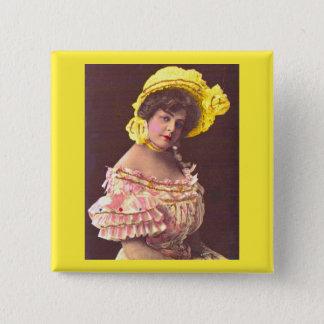 Badge Carré 5 Cm femme de 1890s dans la copie froncée de vêtement