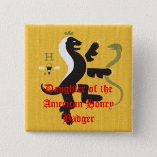 Badge Carré 5 Cm Fille du blaireau de miel américain