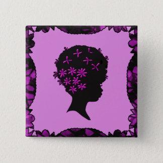 Badge Carré 5 Cm Fleurs vintages dans l'Afro