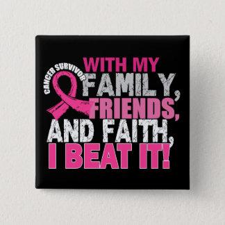 Badge Carré 5 Cm Foi d'amis de famille de survivant de cancer du
