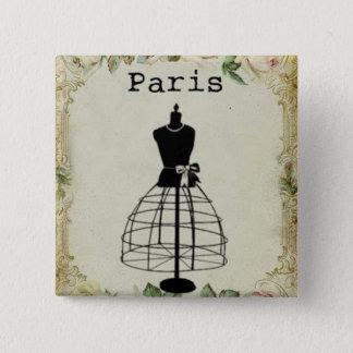 Badge Carré 5 Cm Forme vintage de robe de mode de Paris