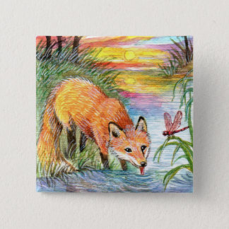 Badge Carré 5 Cm Fox buvant par la rive