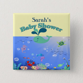 Badge Carré 5 Cm Garçon ou fille sous-marin de baby shower