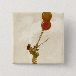 Badge Carré 5 Cm Garçon vintage avec les ballons rouges à une fête