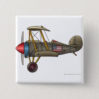 Badge Carré 5 Cm Goupilles vintages de biplan d'avion