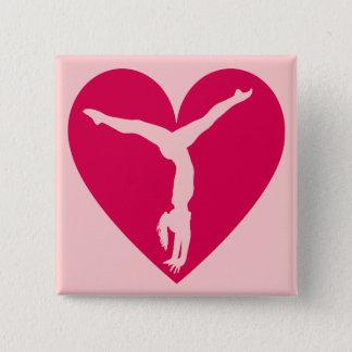 Badge Carré 5 Cm Gymnaste de coeur