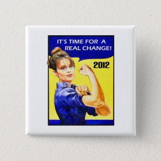 Badge Carré 5 Cm Il est temps pour un changement - Sarah Palin