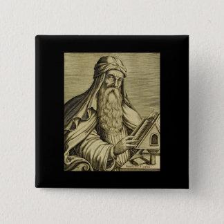 Badge Carré 5 Cm Image tirée par la main de Basil de saint vintage