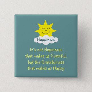 Badge Carré 5 Cm Insigne du soleil de bonheur et de gratitude