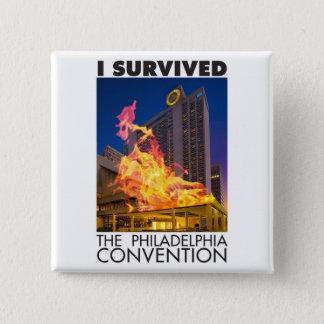 Badge Carré 5 Cm J'ai survécu au bouton de convention de