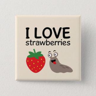 Badge Carré 5 Cm J'aime l'illustration de fraises