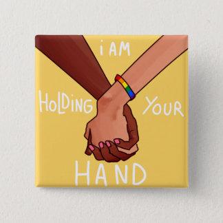 Badge Carré 5 Cm Je tiens votre main par Kimo