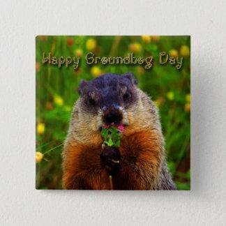 Badge Carré 5 Cm Jour de Groundhog heureux mangeant la fleur