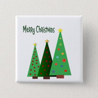 Badge Carré 5 Cm Joyeux Noël. Les vacances ont décoré des arbres