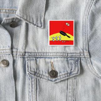 Badge Carré 5 Cm La gymnastique drôle Eggs le bouton rouge lumineux