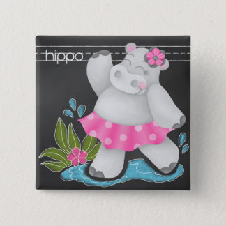 Badge Carré 5 Cm La jungle de tableau - Pin d'hippopotame