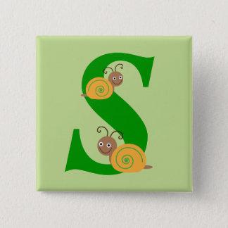 Badge Carré 5 Cm La lettre S Brian de monogramme l'escargot badine