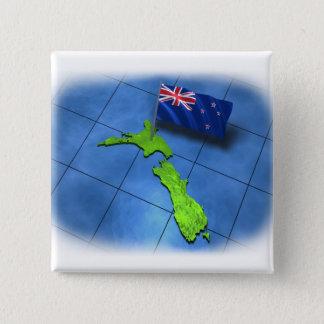 Badge Carré 5 Cm La Nouvelle Zélande avec son propre drapeau