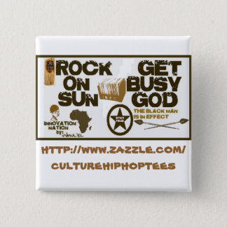 Badge Carré 5 Cm La roche Sun/obtiennent le bouton occupé de Dieu