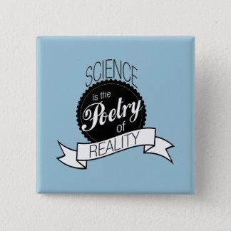 Badge Carré 5 Cm La Science : Poésie de réalité