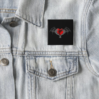 Badge Carré 5 Cm Le coeur de Goth avec la batte s'envole le bouton
