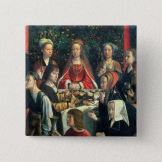 Badge Carré 5 Cm Le mariage chez Cana, détail de la jeune mariée et