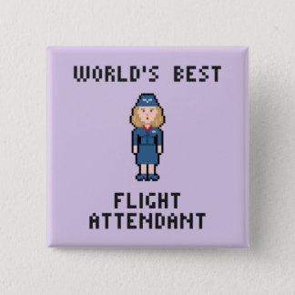 Badge Carré 5 Cm Le meilleur steward (hôtesse de l'air) du monde