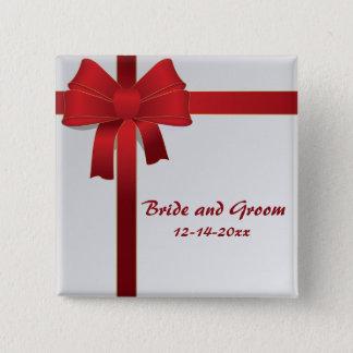 Badge Carré 5 Cm Le rouge cintre le mariage d'hiver