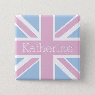 Badge Carré 5 Cm Les Anglais ont inspiré Union Jack rose et bleu