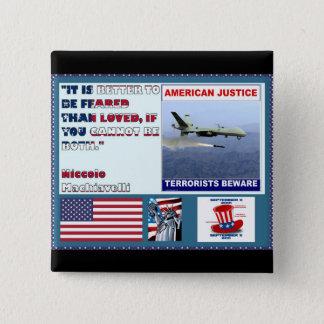 Badge Carré 5 Cm Les terroristes américains de bourdon d'armée de