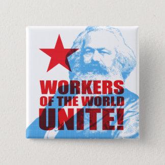 Badge Carré 5 Cm Les travailleurs de Karl Marx du monde unissent !