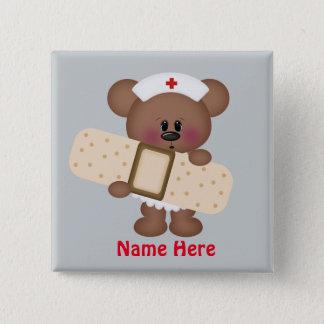 Badge Carré 5 Cm L'infirmière de bande dessinée ajoutent le bouton