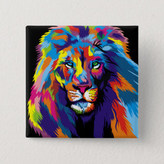 Badge Carré 5 Cm Lion coloré