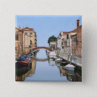 Badge Carré 5 Cm L'Italie, Venise. Vue des bateaux et des maisons