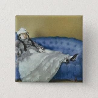 Badge Carré 5 Cm Madame Manet sur un sofa bleu, 1874 de Manet |