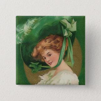 Badge Carré 5 Cm Madame vintage dans le bouton de carré de vert