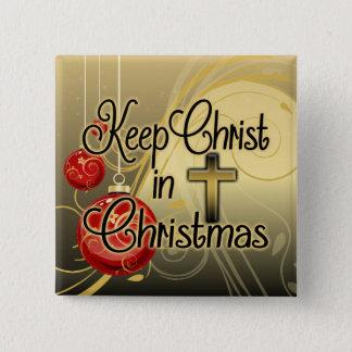 Badge Carré 5 Cm Maintenez le Christ dans Noël, or/chrétien rouge