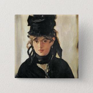 Badge Carré 5 Cm Manet   Berthe Morisot avec un bouquet des