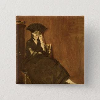 Badge Carré 5 Cm Manet   Berthe Morisot avec une fan, 1872