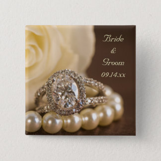 Badge Carré 5 Cm Mariage de bague à diamant ovale et de rose blanc