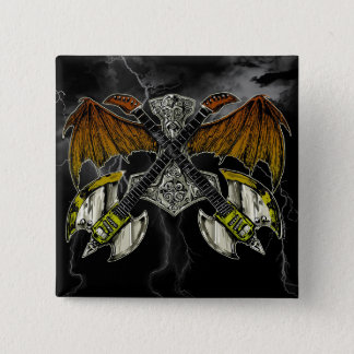 Badge Carré 5 Cm Marteau de Thor des guitares de dieux