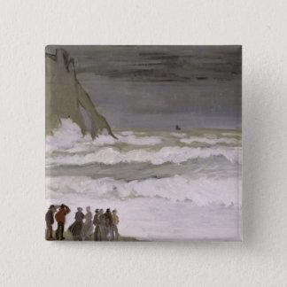 Badge Carré 5 Cm Mer agitée de Claude Monet | chez Etretat, 1868-69