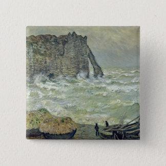 Badge Carré 5 Cm Mer agitée de Claude Monet | chez Etretat, 1883