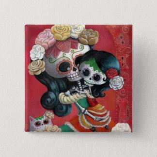 Badge Carré 5 Cm Mère et fille de Dia de Los Muertos Skeletons