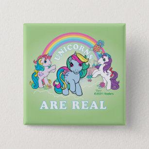 Badge Carré 5 Cm Mon petit rétro  Les licornes sont réelles