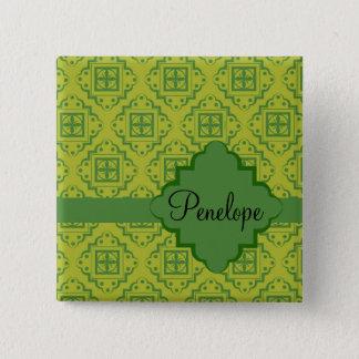 Badge Carré 5 Cm Motif graphique marocain d'arabesque de vert olive