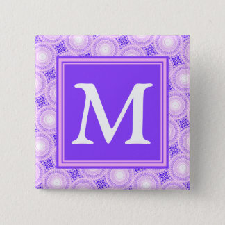 Badge Carré 5 Cm Motif pourpre de cercles de monogramme