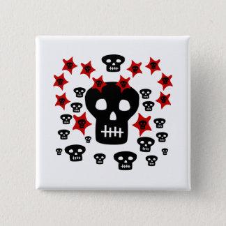 Badge Carré 5 Cm Multitude de crânes avec d'étoiles étranges