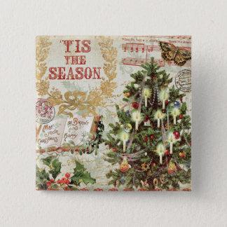Badge Carré 5 Cm Noël vintage Tis la saison
